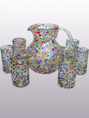 MEXICAN GLASSWARE / MexHandcraft Blown Glass Large 118oz Confetti Rocks Pitcher and 6 Drinking Glasses Set